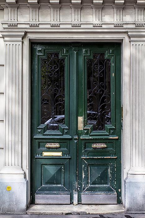 Green Door In Paris Print by Nomad Art And  Design