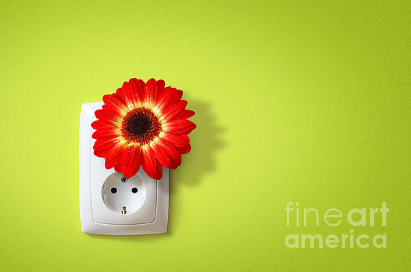 Green Electricity Print by Carlos Caetano