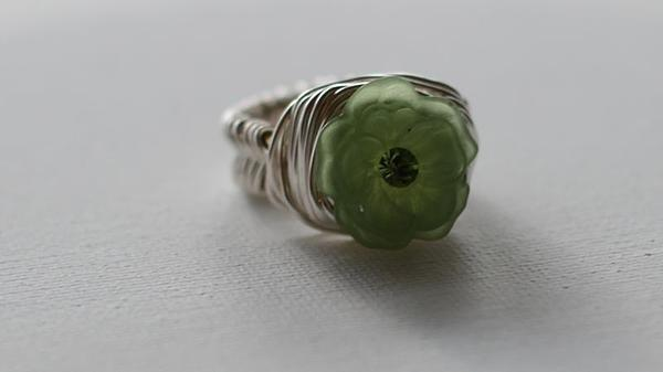 Green Flower Ring Print by Tracy Partridge-Johnson