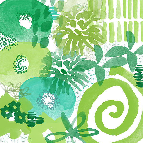 Green Garden- Abstract Watercolor Painting Print by Linda Woods