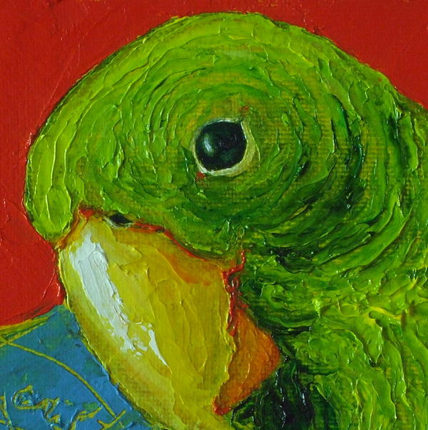 Green parrot painting - photo#5