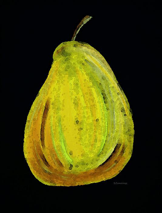 Green Pear - Contemporary Fruit Art Food Print Print by Sharon Cummings