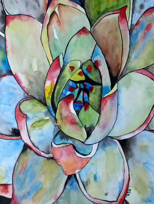 Fei Liu - Green Succulent Agave Watercolor Painting
