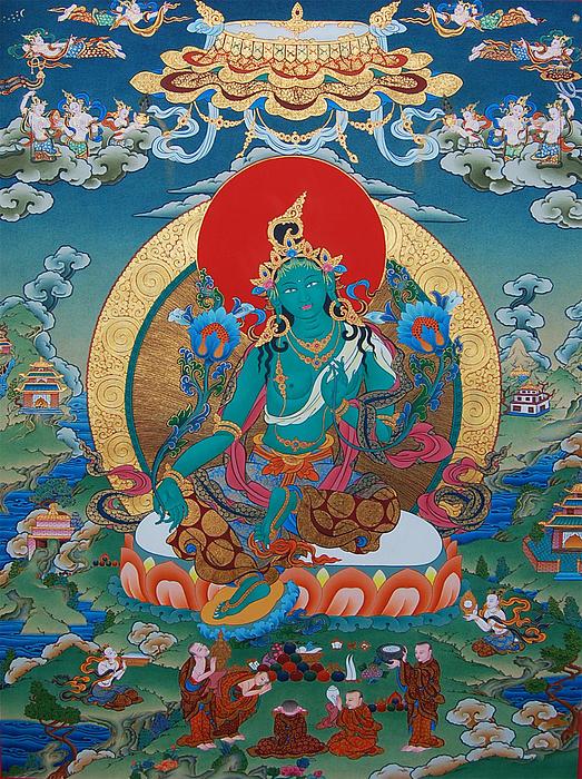 Green Tara Print by Binod Art School