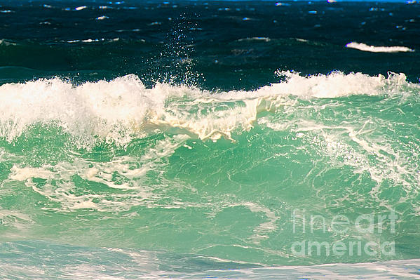 Green Wave Pacific Grove Ca Print by Artist and Photographer Laura Wrede