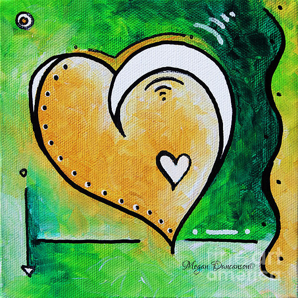 Green Yellow Heart Love Painting Pop Art Peace By Megan Duncanson Print by Megan Duncanson