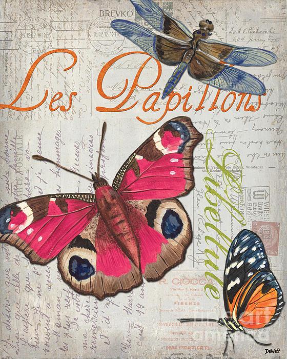 Grey Postcard Butterflies 1 Print by Debbie DeWitt