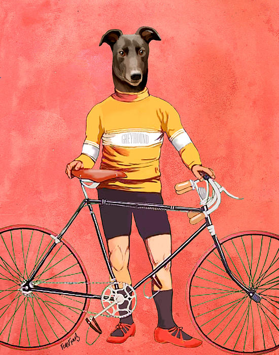 Greyhound Cyclist Print by Kelly McLaughlan