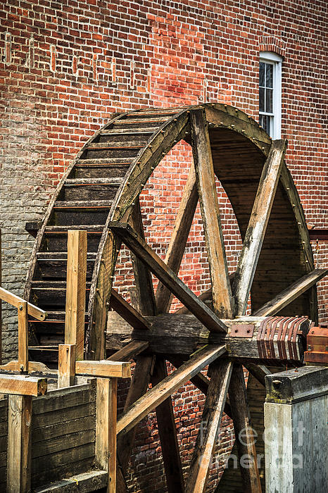 Grist Mill Water Wheel In Hobart Indiana Print by Paul Velgos