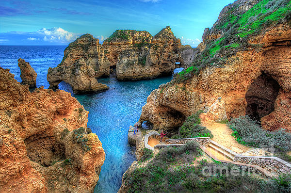 Grottos At Ponta Piedade Print by English Landscapes
