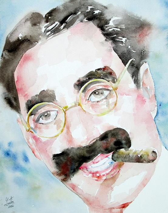 Groucho Marx Watercolor Portrait.2 Print by Fabrizio Cassetta