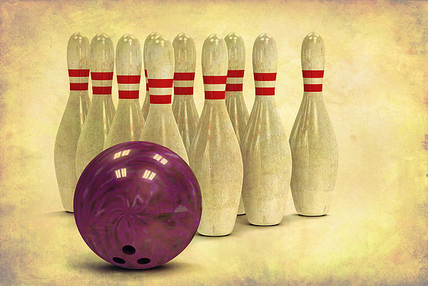 Grunge Bowling Ball And Pins Print by Retro Bowling Ball and Bowling Pins