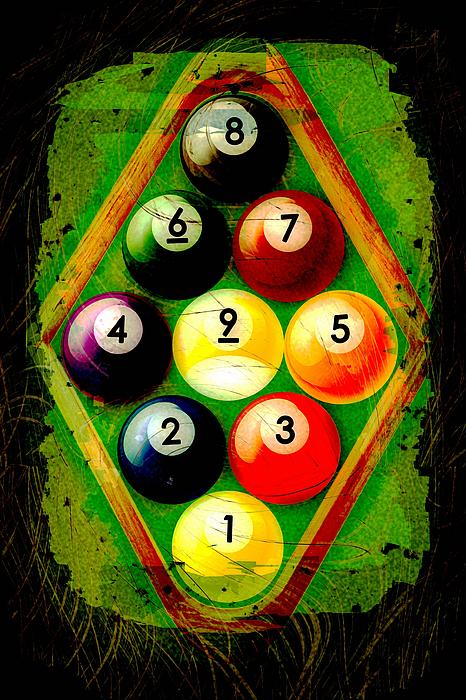 Grunge Style 9 Ball Rack Print by David G Paul