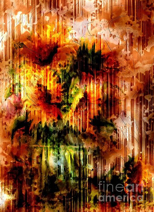 Grungey Vintage Sunflowers Print by Georgiana Romanovna
