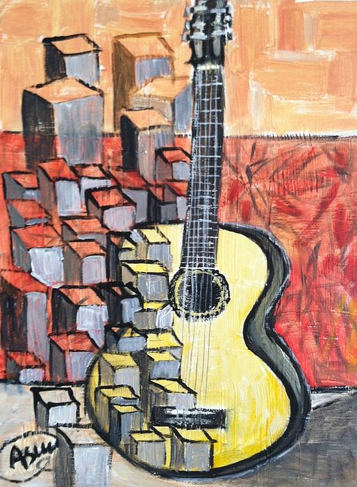 Guitar Print by Asuncion Purnell