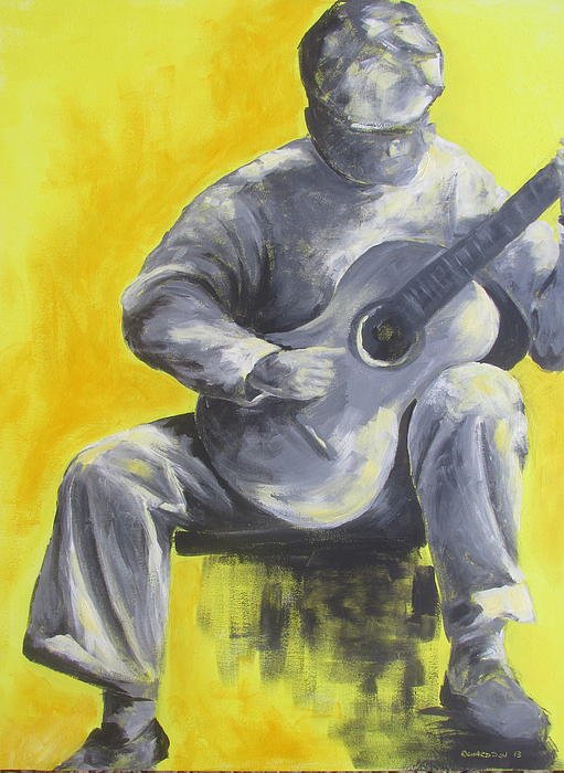 Guitar Man In Shades Of Grey Print by Susan Richardson