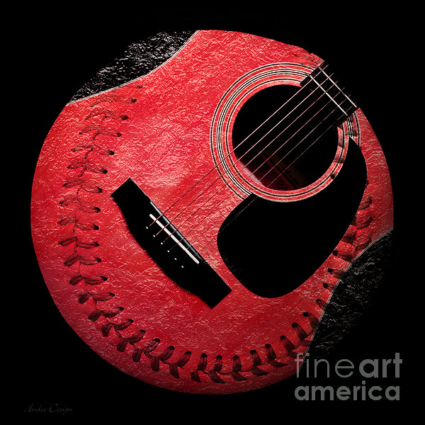 Guitar Strawberry Baseball Print by Andee Design