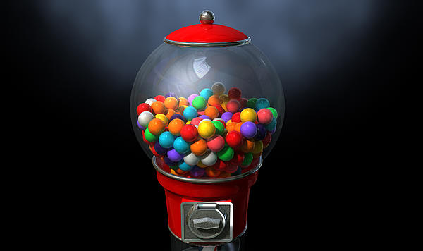 Gumball Dispensing Machine Dark Print by Allan Swart