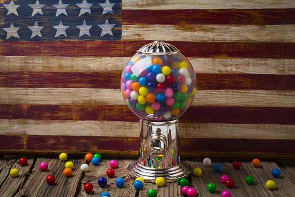Gumball Machine And Old Wooden Flag Print by Garry Gay