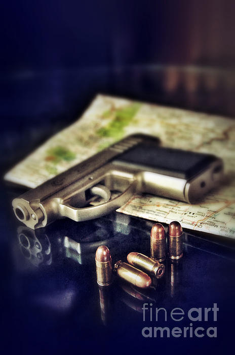 Gun With Bullets And Map Print by Jill Battaglia