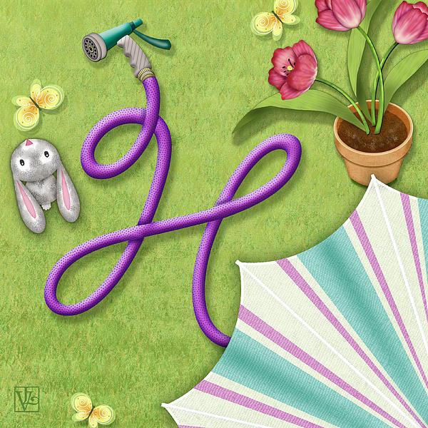 H Is For Garden Hose  Print by Valerie   Drake Lesiak