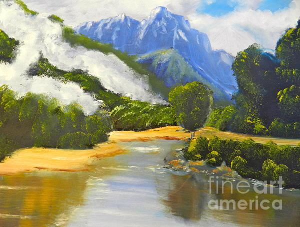Haast River New Zealand Print by Pamela  Meredith