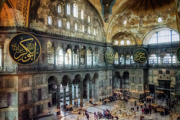 Hagia Sophia Interior Print by Joan Carroll