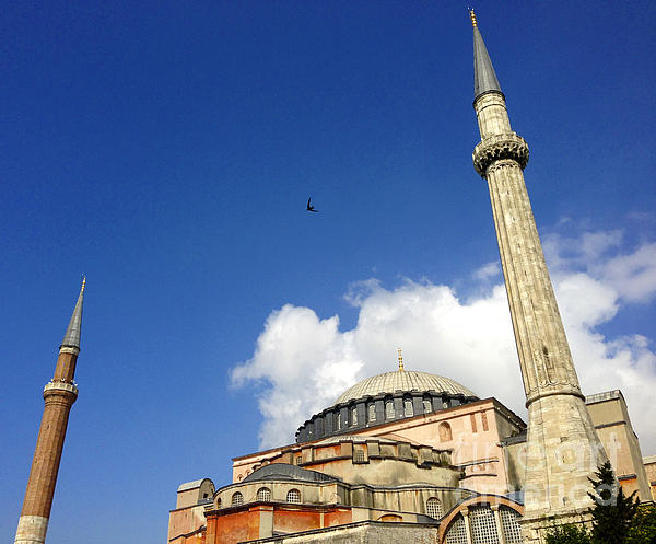 Hagia Sophia With Two Minarets Istanbul Turkey Print by Ralph A  Ledergerber-Photography