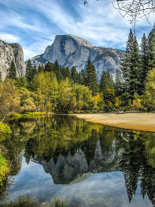 Half Dome Reflected In The Merced River Print by John Haldane