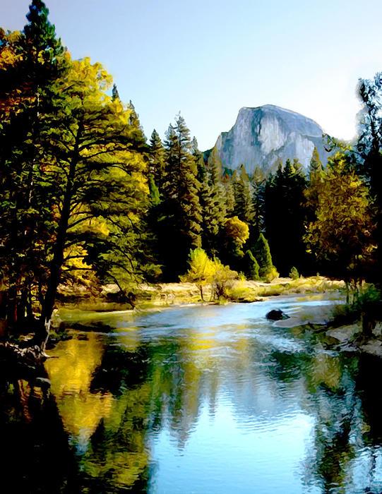 Half Dome Yosemite River Valley Print by  Bob and Nadine Johnston