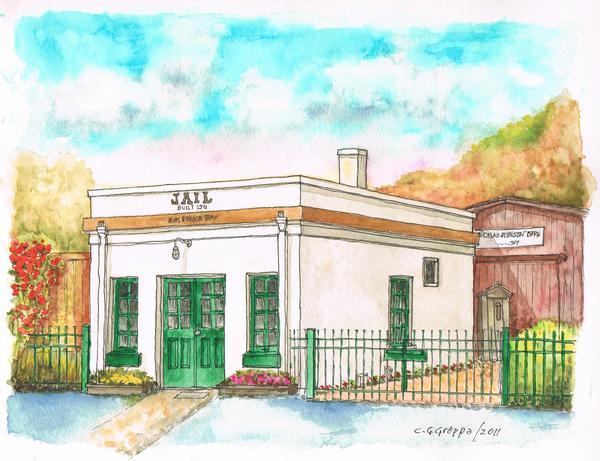 Half Moon Bay Jail And Barn - California Print by Carlos G Groppa