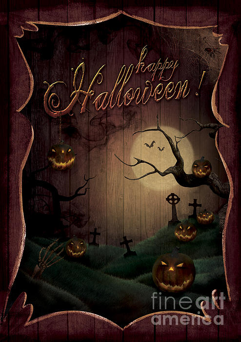 Halloween Design - Pumpkins Theatre Print by Mythja  Photography