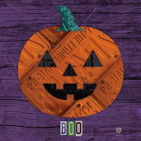 Halloween Pumpkin Holiday Boo License Plate Art Print by Design Turnpike