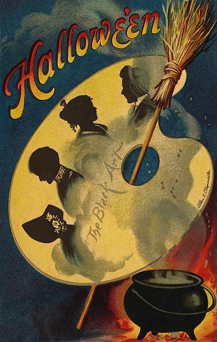 Halloween The Black Art Print by Ellen Hattie Clapsaddle