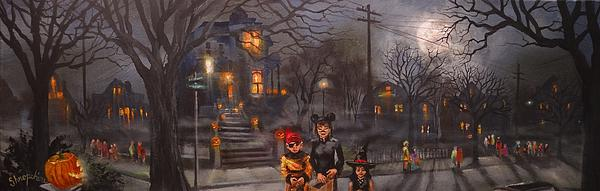 Halloween Trick Or Treat Print by Tom Shropshire