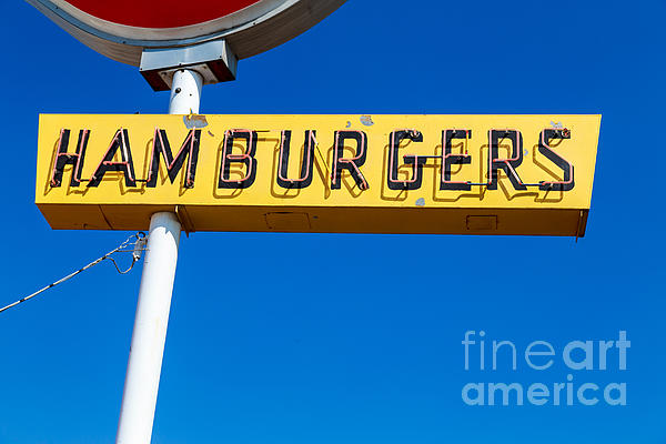 Hamburgers Old Neon Sign Print by Edward Fielding