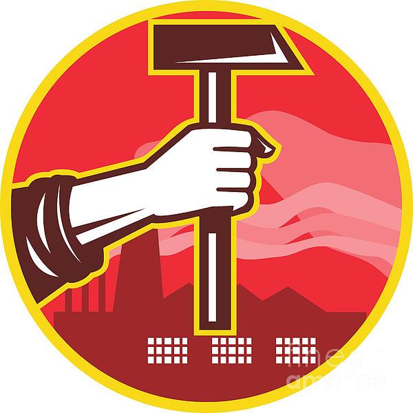 Hand Holding Hammer Factory Retro Print by Aloysius Patrimonio