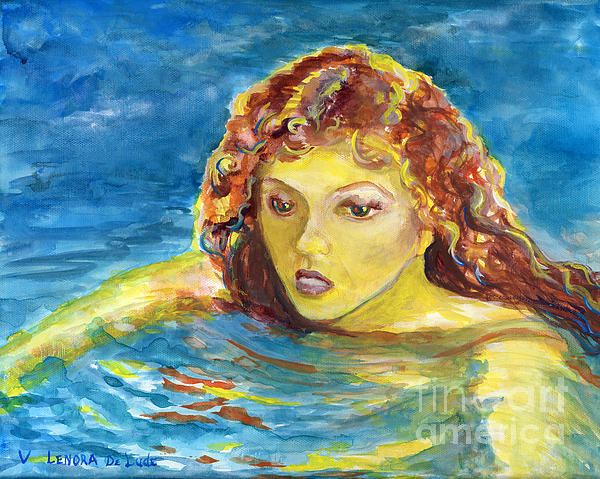 Hand Painted Art Adult Female Swimmer Print by Lenora  De Lude