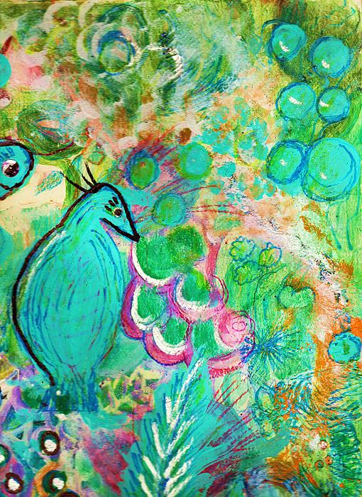 Happy Bird In Aqua Print by Anne-Elizabeth Whiteway