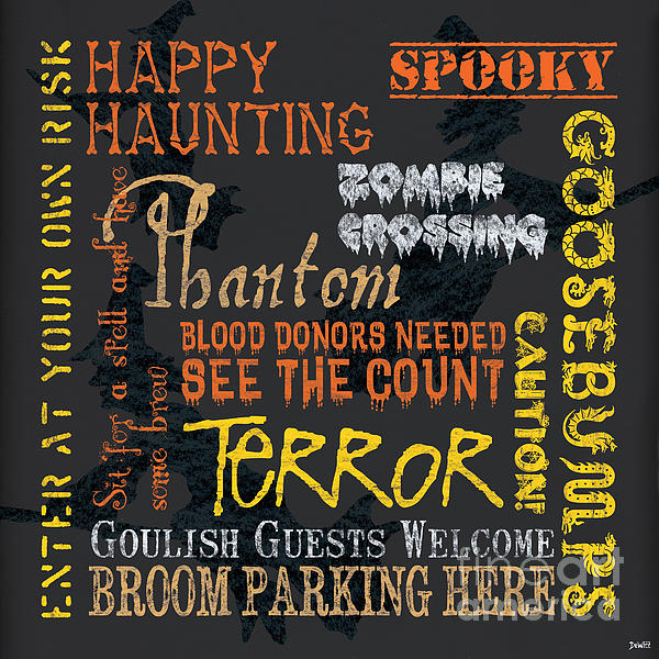 Happy Haunting Print by Debbie DeWitt