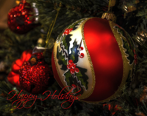 Happy Holidays Greeting Card Print by Julie Palencia