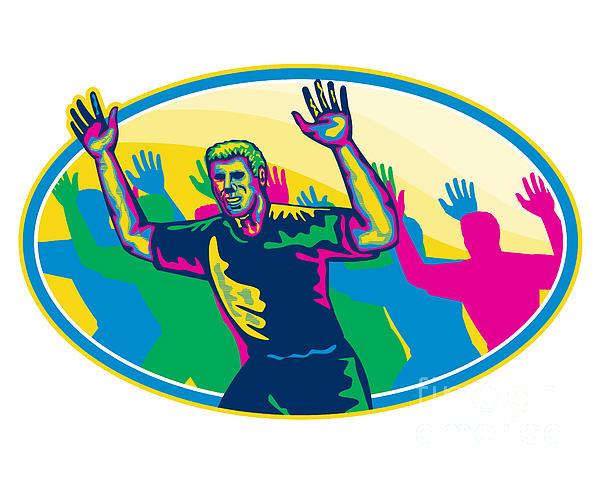 Happy Marathon Runner Running Oval Retro Print by Aloysius Patrimonio