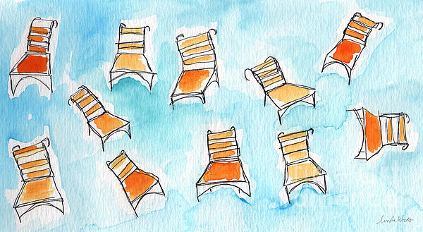 Happy Orange Chairs Print by Linda Woods