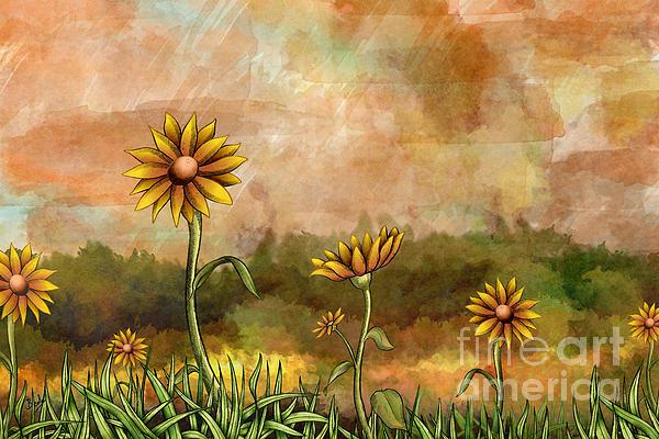 Happy Sunflowers Print by Bedros Awak