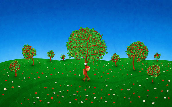 Happy Walking Tree Print by Gianfranco Weiss