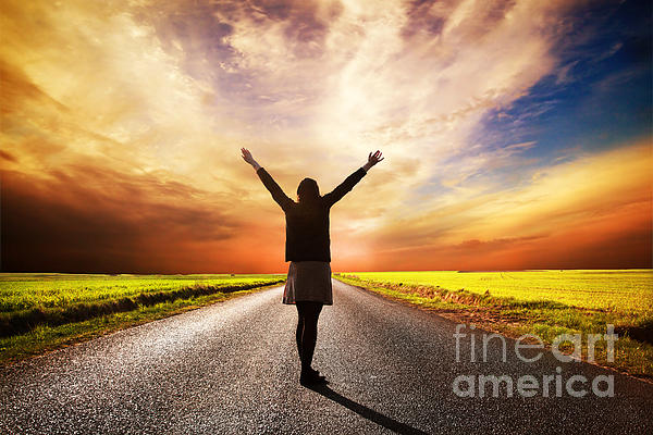 Happy Woman Standing On Long Road At Sunset Print by Michal Bednarek