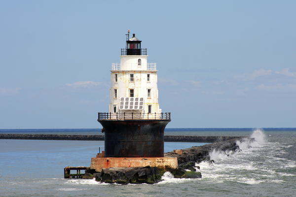Harbor Of Refuge Light  And Breakwater Print by Christiane Schulze Art And Photography