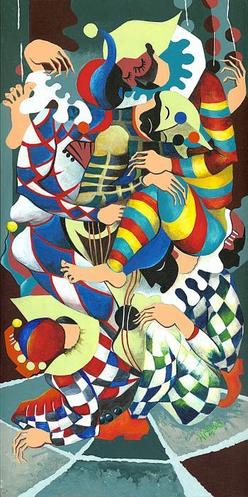 Harlequins Acting Weird - Why?... Print by Elisabeta Hermann