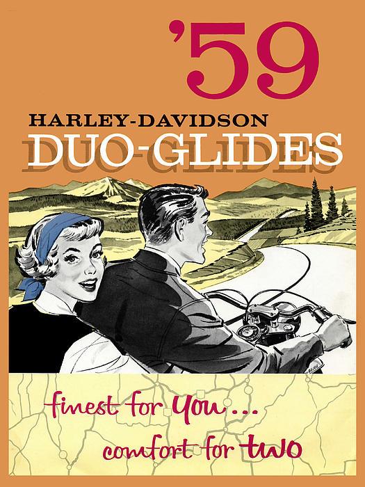 Harley Davidson Duo-glides 59 Print by Mark Rogan