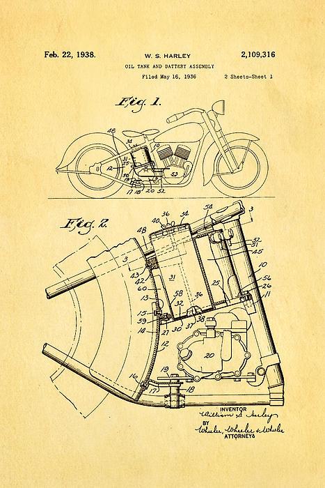 Harley Davidson Horseshoe Oil Tank Patent Art 1938 Print by Ian Monk